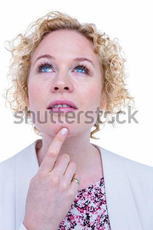 Sarışın kadın beyaz düşünme kadın Stok fotoğraf © wavebreak_media