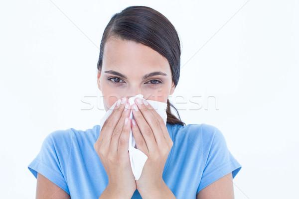 больным женщину сморкании белый синий женщины Сток-фото © wavebreak_media