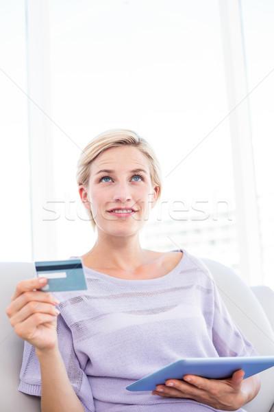 Güzel sarışın kadın online alışveriş oturma odası ev kadın Stok fotoğraf © wavebreak_media