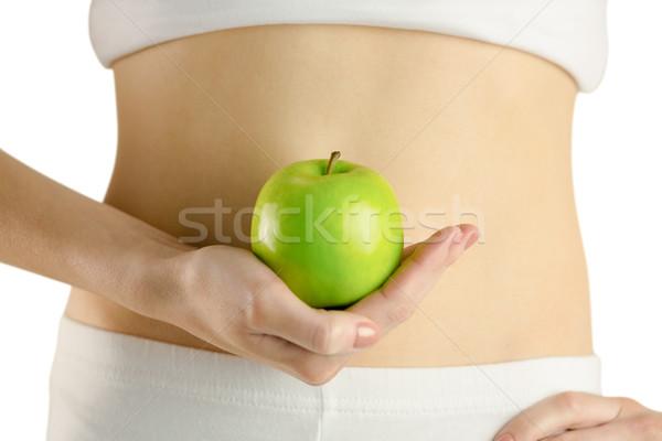 Karcsú nő tart zöld alma fehér Stock fotó © wavebreak_media