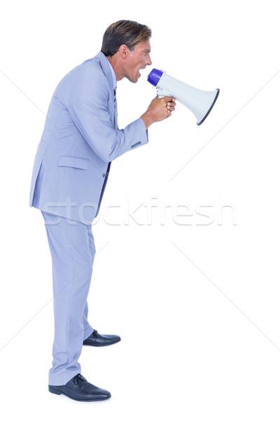 Zakenman praten megafoon knap business gelukkig Stockfoto © wavebreak_media