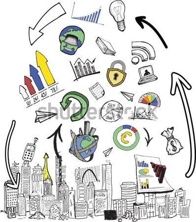 Android kéz remek üzlet grafika rajzok Stock fotó © wavebreak_media