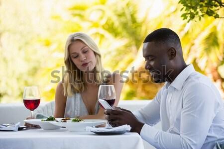 Homem bonito oferta anel de noivado mulher restaurante amor Foto stock © wavebreak_media