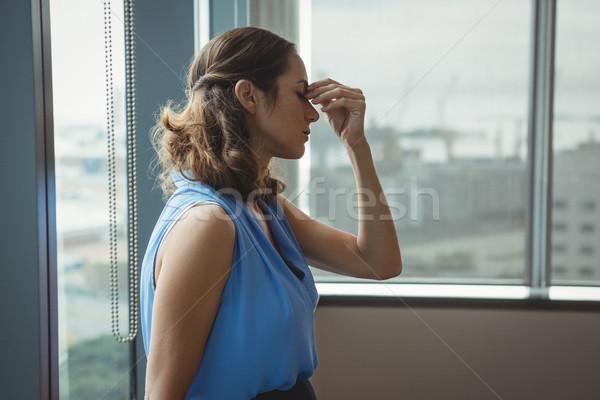 執行 立って ウィンドウ オフィス 女性 企業 ストックフォト © wavebreak_media