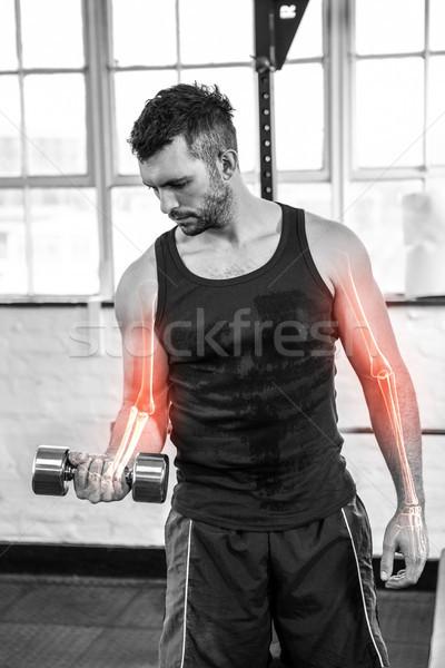 Stockfoto: Arm · sterke · man · gewichten · gymnasium
