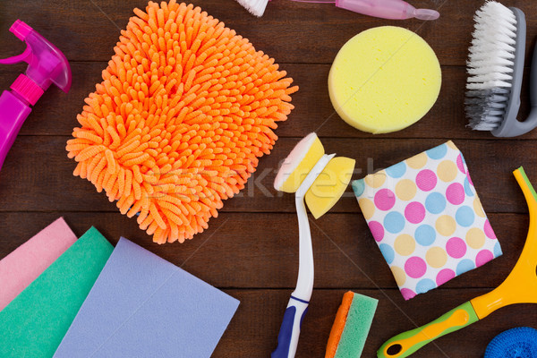Stock photo: Various cleaning equipment arranged on wooden floor