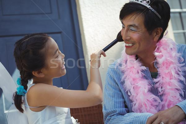 Bonitinho filha fadas traje make-up cara Foto stock © wavebreak_media