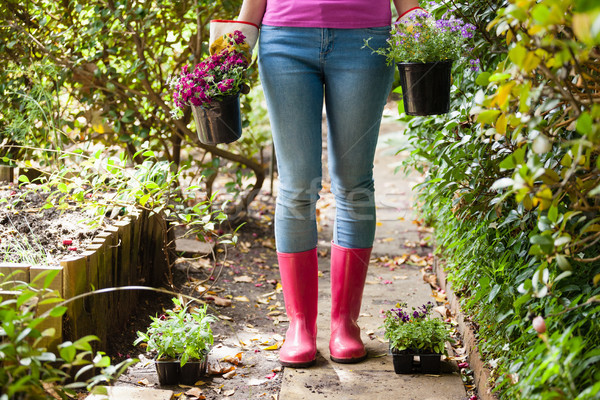 Low section of woman standing with potted plants on footpath Stock photo © wavebreak_media