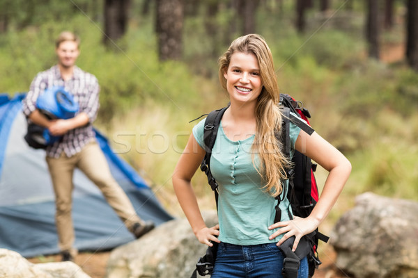 Portrait of a young pretty hiker with hands on hips Stock photo © wavebreak_media