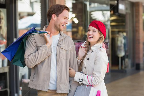 Mutlu çift alışveriş merkezi kadın moda Stok fotoğraf © wavebreak_media