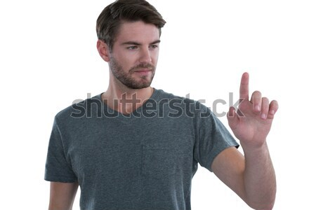 человека Touch невидимый экране белый счастливым Сток-фото © wavebreak_media