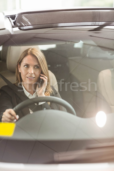 Sorridente empresária telefonema sessão carro Foto stock © wavebreak_media