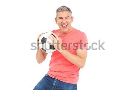 Feliz hombre balón de fútbol blanco moda Foto stock © wavebreak_media