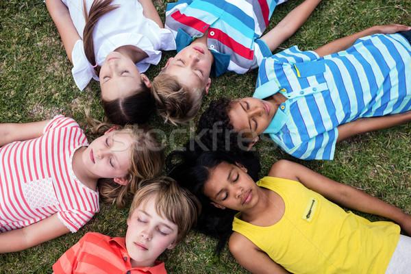 Children lying on grass with eyes closed Stock photo © wavebreak_media