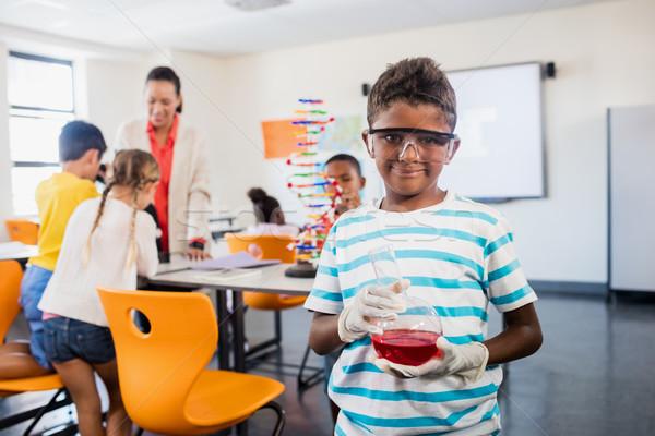 Tudomány osztály osztályterem boldog gyermek lányok Stock fotó © wavebreak_media