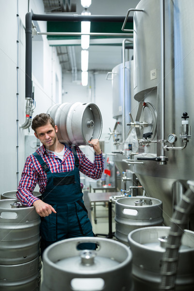 Brewer carrying keg on shoulder  Stock photo © wavebreak_media
