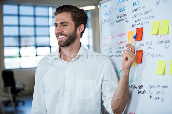 Mosolyog üzletember mutat öntapadó jegyzet leragasztott tábla Stock fotó © wavebreak_media