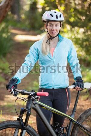 Stock fotó: Női · motoros · hegyi · kerékpár · vidék · út · nő