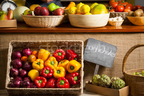 Stock photo: Various fruits and vegetables in organic section
