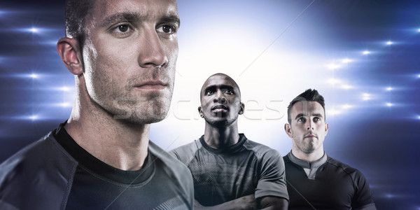 Composite image of close-up of serious rugby player looking away Stock photo © wavebreak_media