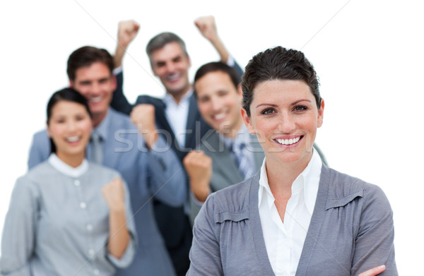 Cheerful business partners punching the air in celebration Stock photo © wavebreak_media
