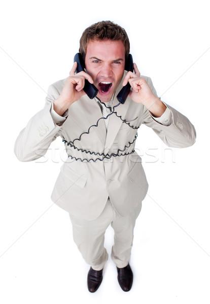 öfkeli işadamı yukarı telefon telleri yalıtılmış Stok fotoğraf © wavebreak_media