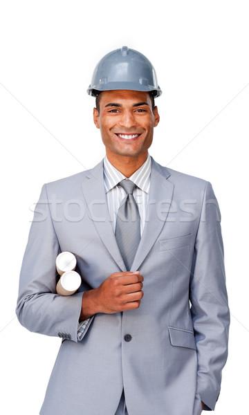 Kisebbségi építész visel munkavédelmi sisak fehér épület Stock fotó © wavebreak_media