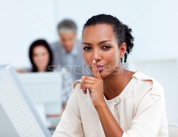 Empresária silêncio escritório mulher beleza Foto stock © wavebreak_media