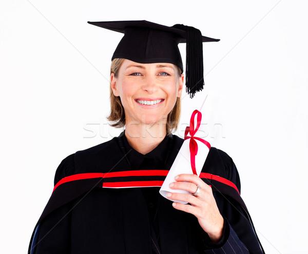 Portré izgatott lány érettségi tart diploma Stock fotó © wavebreak_media
