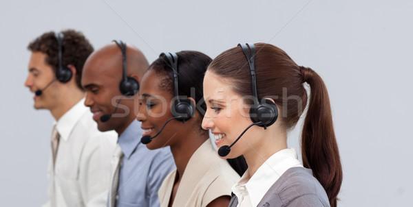 Jovem parceiros de negócios trabalhando call center fone Foto stock © wavebreak_media