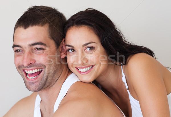 привязчивый пару сидят кровать белый молодые Сток-фото © wavebreak_media