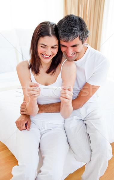 Boldog pár megállapítás ki eredmények terhességi teszt Stock fotó © wavebreak_media