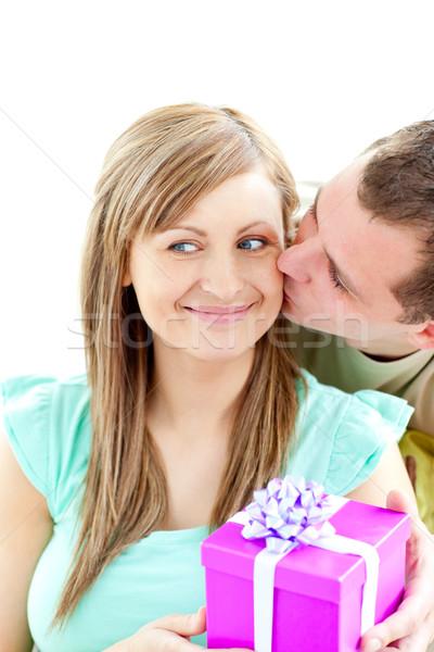 çekici erkek arkadaş sunmak öpücük gülen kız arkadaş Stok fotoğraf © wavebreak_media