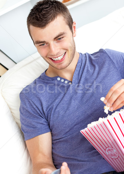 Positif homme distant manger Photo stock © wavebreak_media