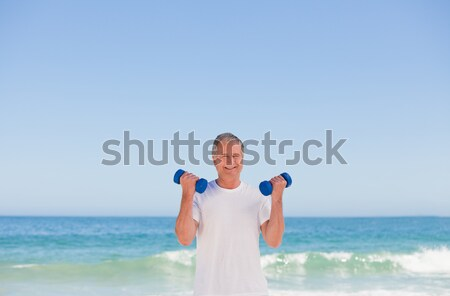 Foto stock: Mulher · ioga · praia · sensual · fitness