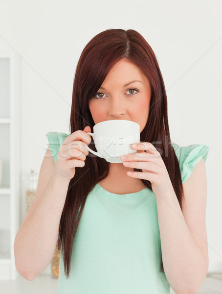 Good looking red-haired woman having her breakfast in the kitchen in her appartment Stock photo © wavebreak_media