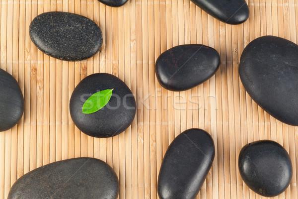 Negro piedras hoja uno bambú naturaleza Foto stock © wavebreak_media
