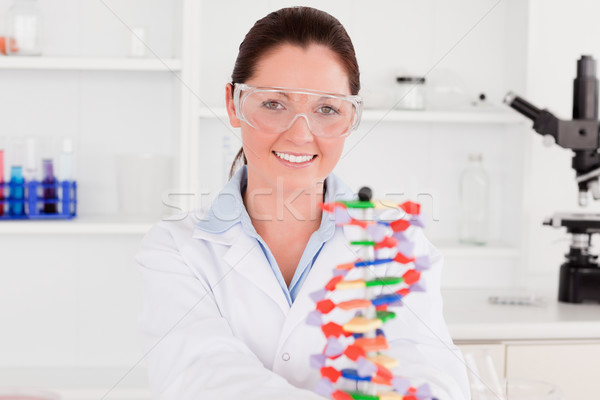 Smiling scientist showing the dna double helix model Stock photo © wavebreak_media