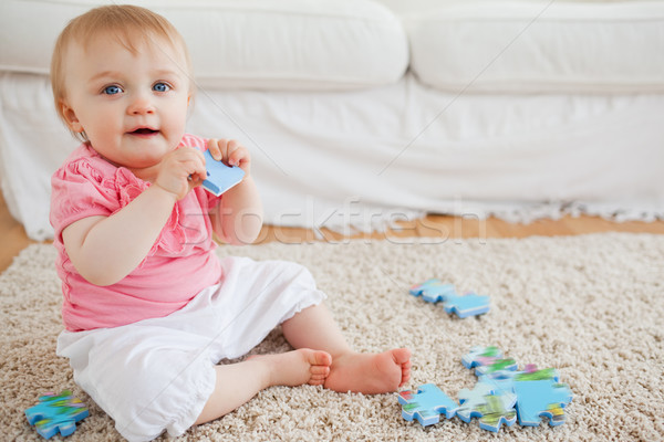 Cute blond Baby spielen Puzzleteile Sitzung Stock foto © wavebreak_media