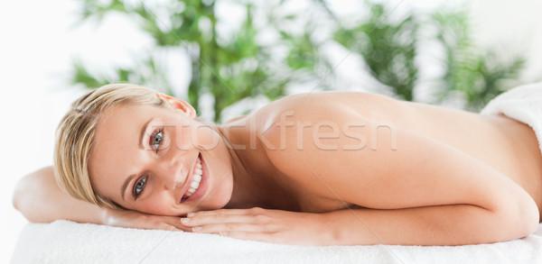 Jól kinéző nő megnyugtató wellness központ arc Stock fotó © wavebreak_media