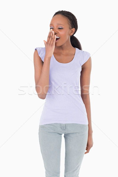 Genç kadın beyaz arka plan imzalamak Stok fotoğraf © wavebreak_media