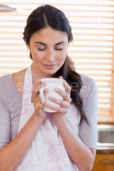 портрет женщину Кубок кофе кухне счастливым Сток-фото © wavebreak_media