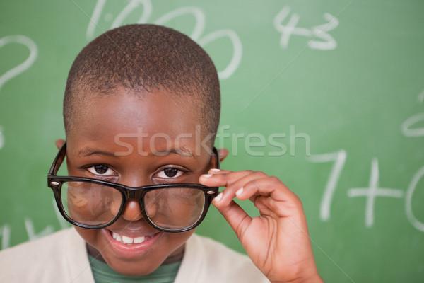 Gülen öğrenci bakıyor gözlük tahta eğitim Stok fotoğraf © wavebreak_media