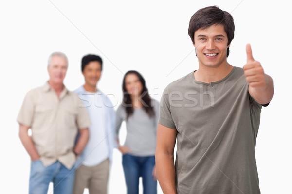 Stockfoto: Glimlachend · man · vrienden · achter · duim · omhoog