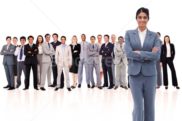 Foto stock: Mujer · de · negocios · armas · blanco · gente · de · negocios · equipo · Asia