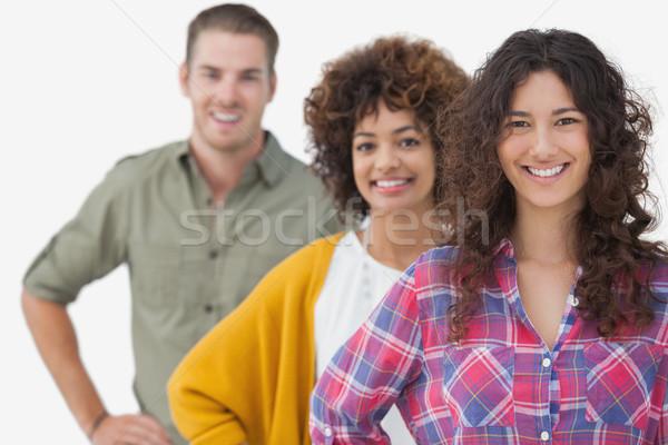 Három elegáns barátok áll csetepaté fehér Stock fotó © wavebreak_media
