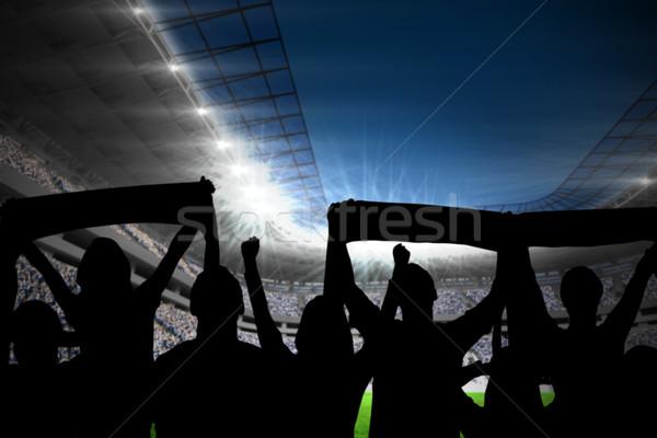 Siluetleri futbol stadyum futbol mavi gece Stok fotoğraf © wavebreak_media