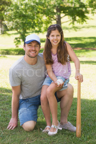 Father and daughter holding baseball bat in park Stock photo © wavebreak_media