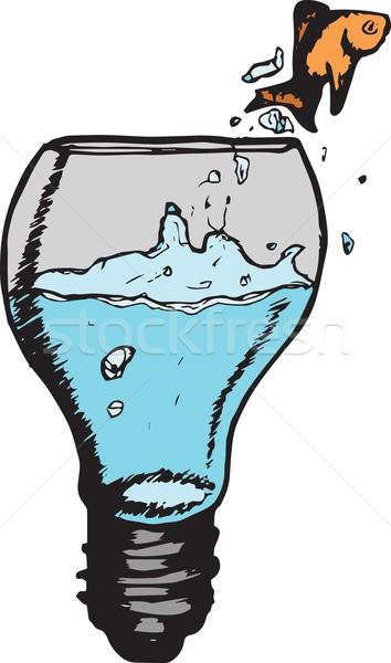 Goldfish sautant ampoule doodle blanche Photo stock © wavebreak_media