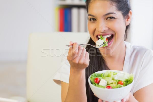 Stok fotoğraf: Mutlu · işkadını · sağlıklı · beslenme · salata · portre · ofis